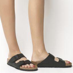 BIRKENSTOCK Arizona Two Strap Sandals Black Birko Flor - Women's Sandals | OFFICE London (UK)