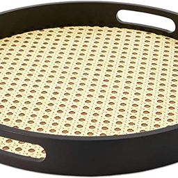 MitaliMart Rattan Tray with Handle - Round Decorative Woven Tray ideal for Food and Storage, Coff... | Amazon (US)