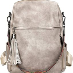 FADEON Leather Backpack Purse for Women, Designer Ladies Shoulder Bag Fashion Convertible Large B... | Amazon (US)