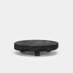 Footed Black Wood Pedestal   Amber Interiors