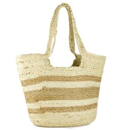 Women's Striped Woven Jute Beach Tote Bag with Double Handle | Walmart (US)