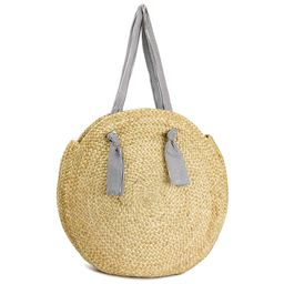 Magid Women's Oversized Large Straw Jute Circle Beach Bag with Striped Cotton Handle | Walmart (US)