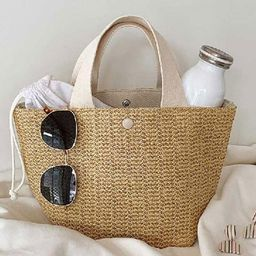 Vintage Garden Beach Holiday Weaving Hand-woven Straw Bag Solid Color Large Capacity Hand-woven S... | Walmart (US)