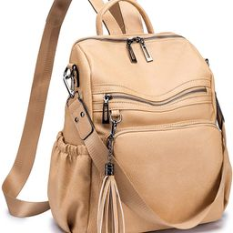 ROULENS Women PU Leather Backpack Purse Convertible Ladies Fashion Casual Travel Large School Sho... | Amazon (US)