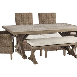 Beachcroft Outdoor Dining Table and 4 Chairs and Bench | Ashley Homestore