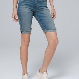 Everyday Soft Denim High-Rise Bermuda Shorts | White House Black Market