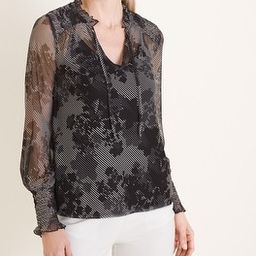 Floral Smocked Mesh Top   Chico's