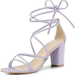 Allegra K Women's Strappy Straps Lace Up Chunky Heel Sandals | Amazon (US)