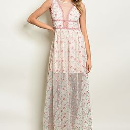 The Balec Group Women's Maxi Dresses BLUSH - Blush Floral-Lace Sheer-Overlay V-Neck Dress - Women | Zulily