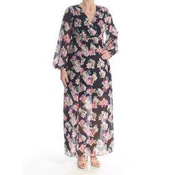 INC Womens Pink Sheer Floral Raglan V Neck Maxi Empire Waist Dress Petites Size: S | Walmart (US)