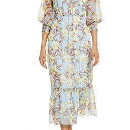 Women's Sam Edelman Soft Floral Chiffon Maxi Dress, Size 0 - Blue | Nordstrom