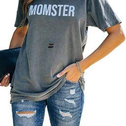 AlvaQ Womens Summer Loose Crewneck Short Sleeve Tops Graphic Print Shirts S-XXL | Amazon (US)