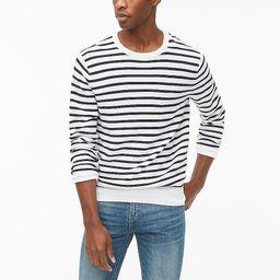 Striped cotton garter-stitch crewneck sweater | J.Crew Factory