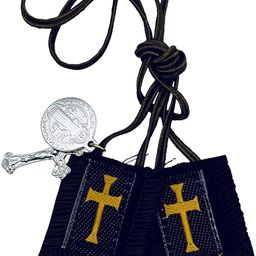 Brown Scapular with Gold Cross - Short Cord (1010)   Amazon (US)