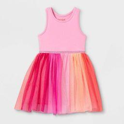 Toddler Girls' Rainbow Colorblock Tulle Tank Dress - Cat & Jack™ Pink | Target