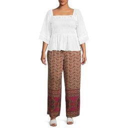 Romantic Gypsy Women's Plus Size Eyelet Smocked Square Neck Top | Walmart (US)