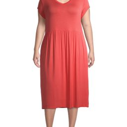 Terra & Sky Women's Plus Size V-Neck Midi Dress | Walmart (US)