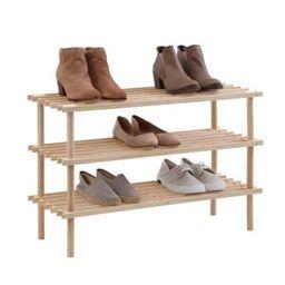 SALT™ 3-Tier Stackable Natural Wood Shoe Rack | Bed Bath & Beyond | Bed Bath & Beyond