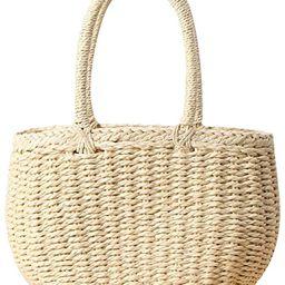Amazon.com: Straw Bags for Women, Hand-woven Straw Small Hobo Bag Round Handle Ring Tote Retro Su... | Amazon (US)