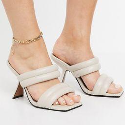 ASOS DESIGN Wide Fit Nadalie padded heeled mules in bone   ASOS (Global)