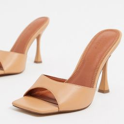 ASOS DESIGN Wide Fit Nero square toe mules in beige   ASOS (Global)