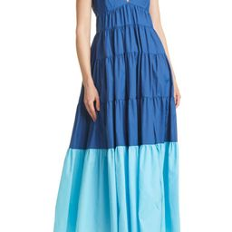 Corsica Colorblock Recycled Nylon Tiered Dress | Nordstrom
