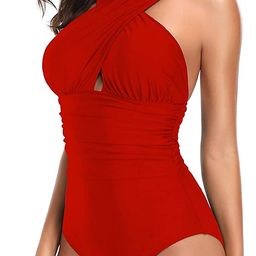 W YOU DI AN Women's Swimsuits One Piece Tummy Control Front Cross Backless Swimsuit Bathing Suit | Amazon (US)