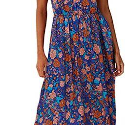 Angashion Women's Dresses Floral Adjustable Spaghetti Strap V Neck Boho Long Maxi Dress Summer Be... | Amazon (US)