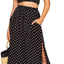 Floerns Women's 2 Piece Outfit Polka Dots Crop Top and Long Skirt Set with Pockets | Amazon (US)