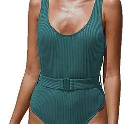 PRETTYGARDEN Women's Simple Low Cut Sides Wide Straps High Legs One-Piece Swimsuit | Amazon (US)
