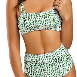 Ferbia Women High Waisted Bandeau Bikini Set Strapless 2 Piece Bathing Suit Swimsuits Tie Wrap Sw... | Amazon (US)