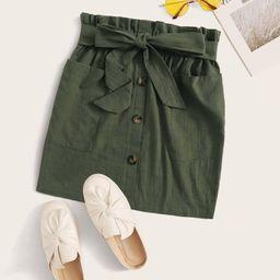 SHEIN Belted Paperbag Waist Mini Skirt | SHEIN