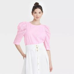 Women's Elbow Sleeve Eyelet Top - A New Day™   Target