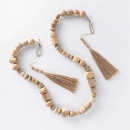 """96"""" Decorative Wooden Bead Garland Natural - Threshold™ designed with Studio McGee 