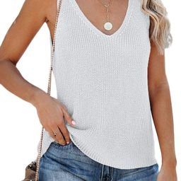 Womens Sleeveless V Neck Sweater Vest Summer Fall Knitted Loose Cami Tank Tops | Amazon (US)
