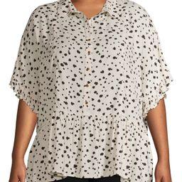Terra & Sky Women's Plus Button Front Woven Top With Peplum Bottom   Walmart (US)