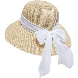 Boardwalk Style Women's Sunhats White - White Bow UPF 50+ Sunhat | Zulily