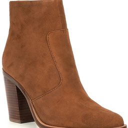 Tovyy Suede Stacked Heel Western Booties   Dillards