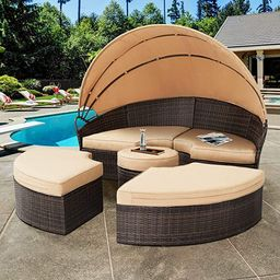 SOLAURA Outdoor Round Daybed, Patio Daybed with Retractable Canopy and Brown Wicker, Seating Sepa... | Amazon (US)