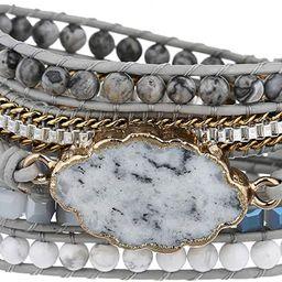 Plumiss Women Boho Handmade Natural Stone Wrap Bracelets Variety Beads Strand Bracelet for Men Co... | Amazon (US)