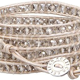 KELITCH Fashion Gray Crystal Beaded 5 Wrap Bracelet On Leather Strand Bracelets Jewelry | Amazon (US)