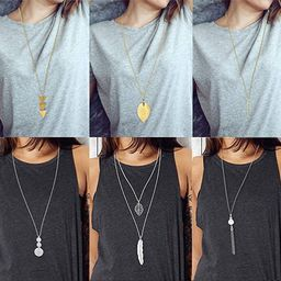 FUNEIA 6 PCS Long Pendant Necklace for Women Simple Bar Layer Three Triangle Tassel Y Charm Neckl... | Amazon (US)