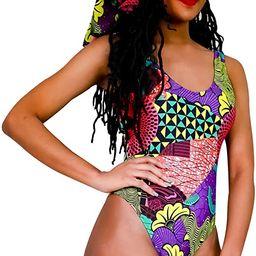 Fulani Dashiki Tribal Printed Women One Piece Swimsuit Set with Scarf African Print High Neck Bac... | Amazon (US)