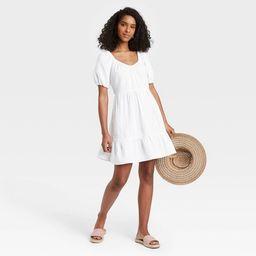 Women's Puff Short Sleeve Tiered Babydoll Dress - Universal Thread™ | Target