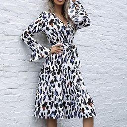 Long-Sleeve Leopard Print Midi Dress | YesStyle Global