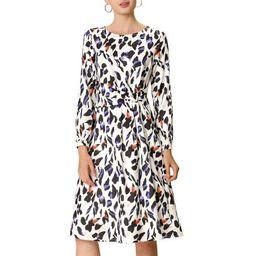 Allegra K Junior's Leopard Boat Neck Ruched Waist A Line Midi Dress M(7) White | Walmart (US)
