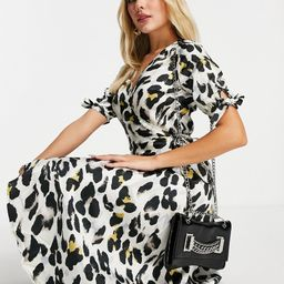 AX Paris midi wrap dress in animal-White | ASOS (Global)