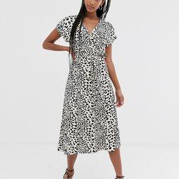 Oasis leopard print midi shirt dress in white-Black | ASOS (Global)
