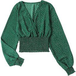 Women's V Neck Shirred Polka Dots Long Sleeve Frill Crop Blouse Shirt Tops   Amazon (US)