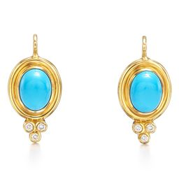 Classic Temple Turquoise & Diamond Drop Earrings | Nordstrom